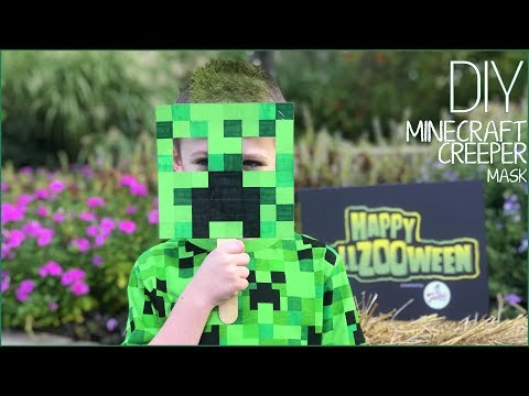 Fast & Easy DIY Minecraft Creeper Mask – Last Minute Halloween Costume FREE or Cheap to make