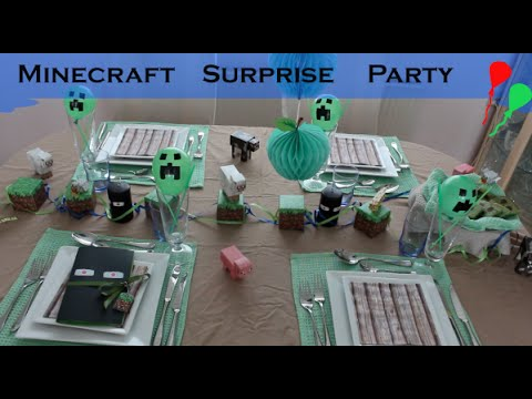 Minecraft Surprise party – w/ card, cake and decorations