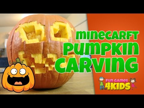 Carving a Minecraft pumpkin with the family