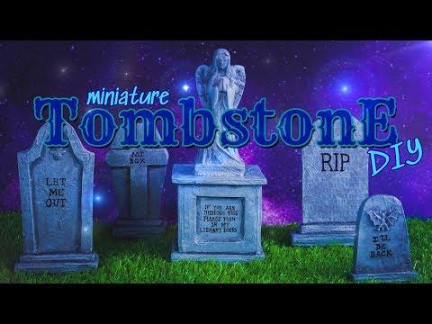 DIY – How to Make: Miniature Halloween Tombstones EASY Paper Crafts