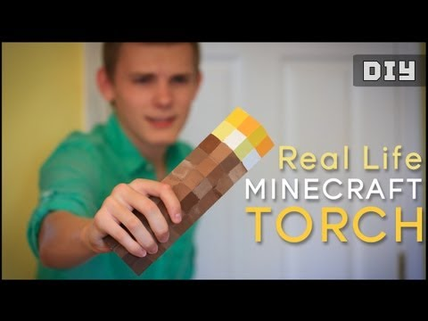 How to make a Real Life Minecraft TORCH (DIY)