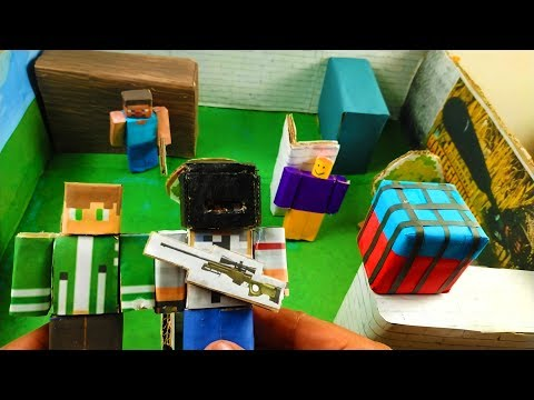Cardboard game PUBG – roblox vs minecraft, who is best??. DIY animation
