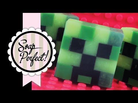 Minecraft Creeper Soap in a Lego Mold