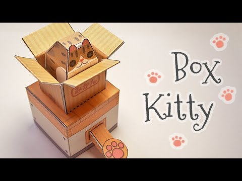 Cat in a box automata papercraft (step by step tutorial)