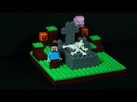 LEGO Minecraft Tombstone MOC with Secret Door – LEGO Halloween Ideas