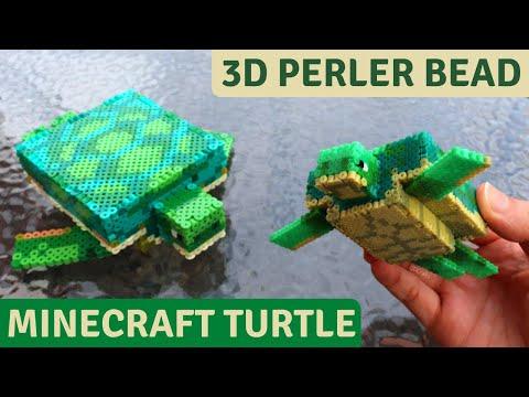 DIY 3D Perler Bead Minecraft Turtle Figure