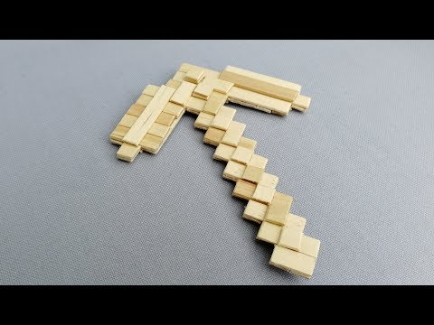 DIY Minecraft pickaxe from popsicle sticks v2