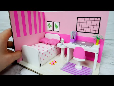 DIY Miniature Cardboard House #10    PINK Bedroom Decor