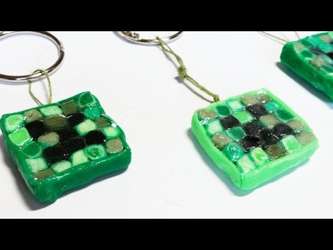 DIY Clay Minecraft Creeper Zipper Pulls for Backpacks