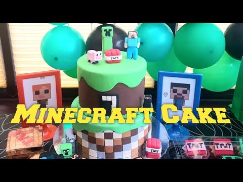 How To Make A Minecraft Cake With Characters: Steve, Pig, Creeper, Enderman & Tnt