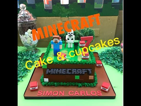 Minecraft birthday cake and cupcakes by Mau's Cupcake