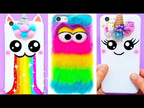 5 DIY UNICORN PHONE CASES | Easy & Cute Phone Projects & iPhone Hacks 🌈🦄🌈