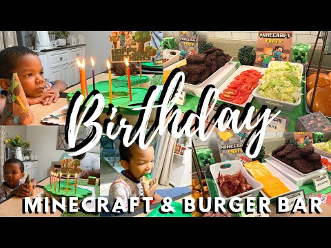 � Burger Bar & Minecraft Birthday Party 🥳 | Jesiah's 6th Birthday