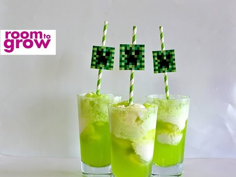 Ice Cream  Floats with a Creeper Straw Topper