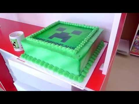 Minecraft Creeper Diamond Adventure cake and mug