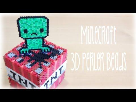 DIY Minecraft 3D Perler Bead Cube with Creeper
