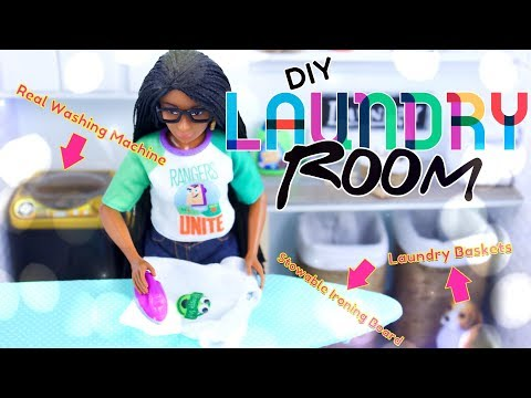 DIY – How to Make: Doll Laundry Room with REAL Working Washing Machine