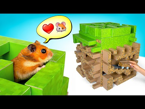 Minecraft In Reality! DIY 3D Block Maze For A Hamster