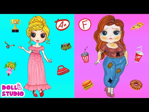 DIY Paper Doll | Thin & Fat Prom Costumes Dresses Handmade Quiet Book | Barbie Story & Crafts