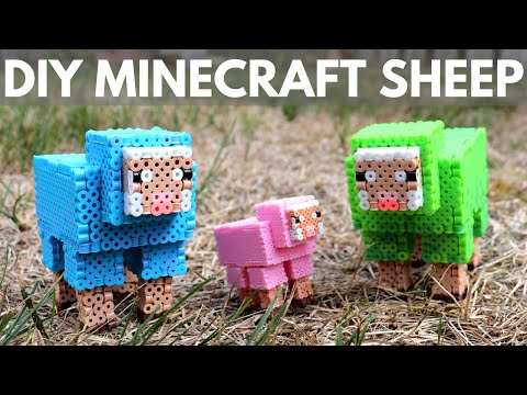 DIY Minecraft Sheep Perler Bead Figure