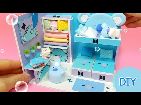 DIY Miniature dollhouse room –  BTS & BT21 KOYA room decor !