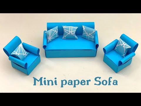 DIY MINI PAPER SOFA / Paper Crafts For School / Paper Craft / Easy kids craft ideas /Paper Craft New