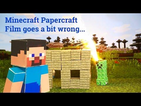 Papercraft Minecraft film goes a bit wrong