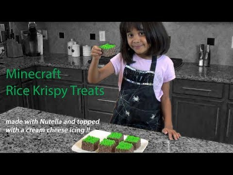 Minecraft Rice Krispy Treats – with Nutella and Cream Cheese icing