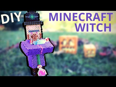 DIY Halloween Minecraft Witch Perler Bead Figure