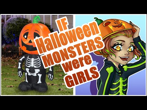HALLOWEEN MONSTERS as GIRLS | Halloween Pumpkin Skeleton Monster