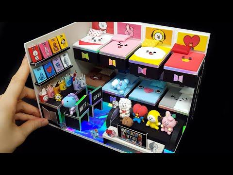 DIY Miniature Board house #5  – BTS & BT21 room decor !