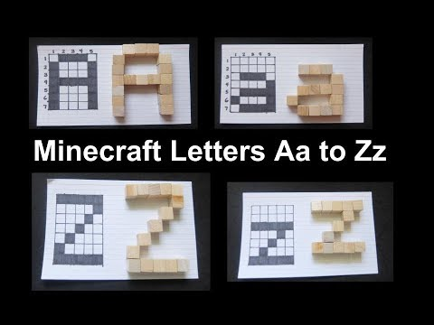 Minecraft Letters  Aa to Zz Font in Grid and Wood Blocks