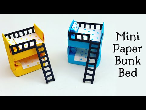 DIY MINI PAPER BUNK BED / DIY Doll Bunk Bed / Paper Crafts For School / Paper Craft / Mini Furniture