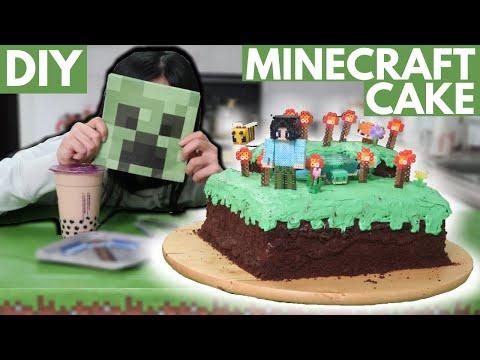 I Made a Minecraft Cake w/ DIY Perler Bead Decorations