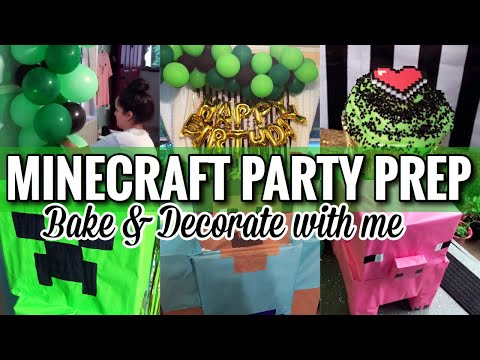 MINECRAFT BIRTHDAY PARTY | ULTIMATE PARTY PREP | BAKE & DECORATE WITH ME @GENELIZQ
