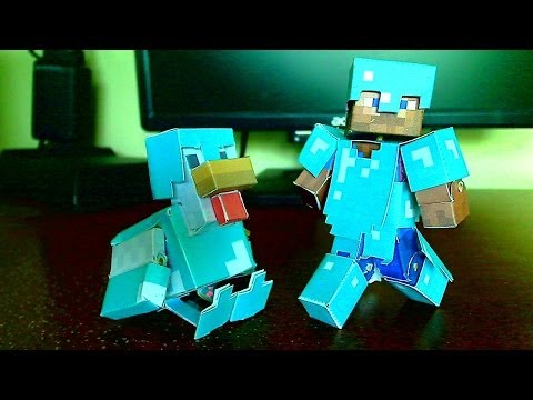 How to make a Minecraft Papercraft Bendable Chicken with Diamond Armor