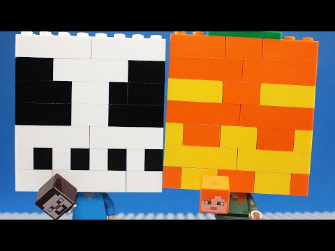 Halloween Lego Minecraft Steve And Alex Building  Brick Mask