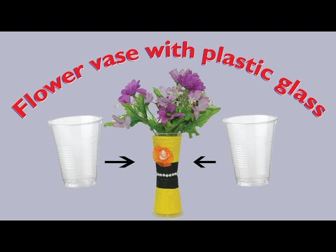 DIY flower vase from one time plastic glass | Making flower pot at home