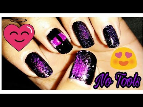 Nail art without tools!!  Without Minecraft!! Black lakme!!