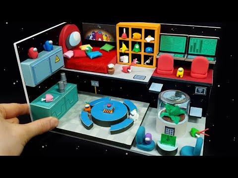DIY Miniature Board house – Among Us Full house decor !
