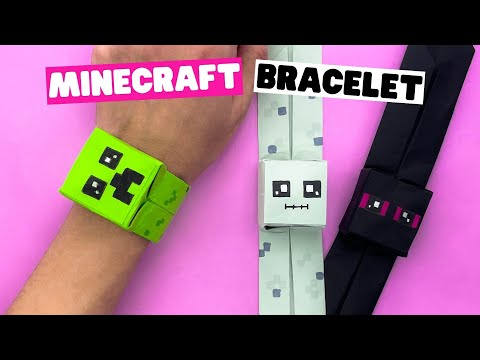How to make ORIGAMI MINECRAFT BRACELET [paper bracelet]