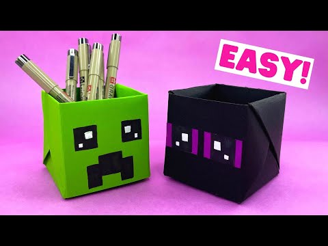 How to make ORIGAMI MINECRAFT BOX [origami pen holder]