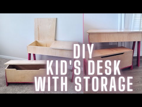 DIY Kid's Desk with Storage Table and Bench | The Melly Set | DIY & Woodworking