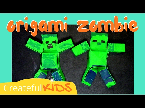 How To Make an Easy Mine-craft Origami Zombie