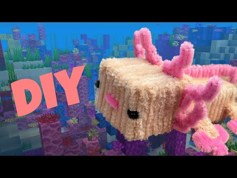 MINECRAFT CRAFTS | How to make pipe cleaner Axolotl 🌊