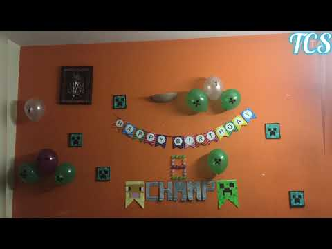 Minecraft theme birthday party decoration ideas || easy DIY decoration
