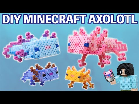 DIY Minecraft Axolotl Perler Bead Figure