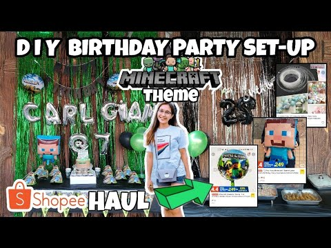 SHOPEE HAUL FOR MINECRAFT BIRTHDAY PARTY THEME | DIY PARTY DECORATION | Philippines 2021