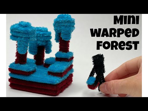 Making a Mini Warped Forest from Minecraft out of Pipe Cleaners