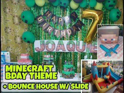 MINECRAFT BDAY PARTY THEME | BOUNCE HOUSE W/ SLIDE | DIY PRINTABLE MINECRAFT STEVE HEAD & LETTERS
